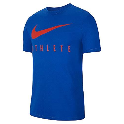Nike Herren M NK Dry Tee DB Athlete T-Shirt, Game royal/Habanero red, S (T-shirt Gerippten Leichtes)