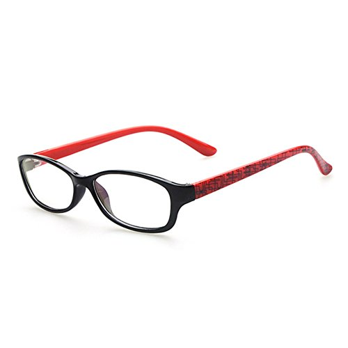 Rechteck Gläser für Kinder - Jungen und Mädchen Transparente Linsen Lesen Gläser Kunststoff Brillenfassung Klassisches Brille mit Auto Form Brillenetui