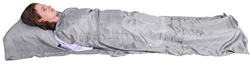Marycrafts Seidenschlafsack Aus 100% Naturseide, Hüttenschlafsack Inlett Sommerschlafsack Aus Echter Seide 210 x 84 cm (Silber)