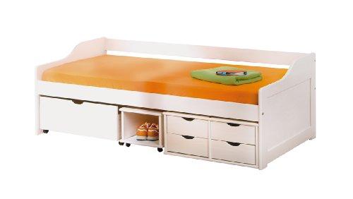 Inter Link Bett Funktionsbett Kinderbett Einzelbett Stauraumbett modernes Bett Kiefer massiv Weiss lackiert (Bett-schubladen)