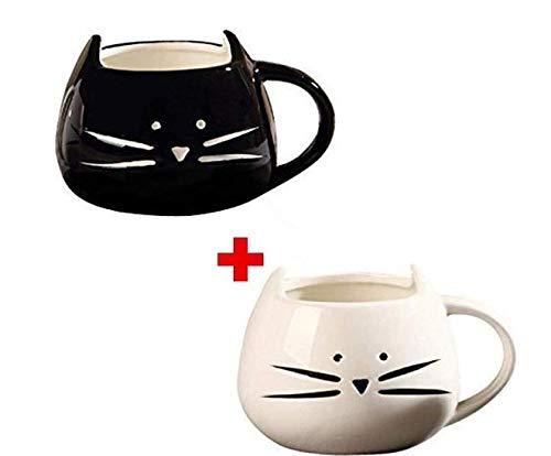 Adkwse Kaffeebecher 2 Stücke Katze Tassen Keramik Nette Porzellanbecher Tee Tasse Kaffeetasse Teebecher
