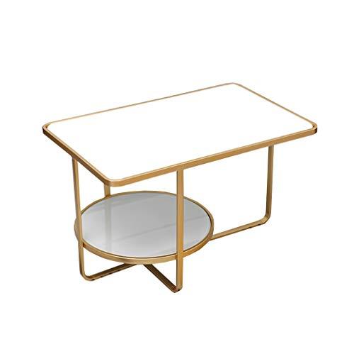 LYLian-Table Haushalt Rechteck-Tabelle, kreativer Tee-Tabelle ausgeglichenes Glas-Wohnzimmer-Zwei Schichten Schlafzimmer-Kaffeetisch-Freizeit-Tabellen Kleiner Fußabdruck (Color : White) -