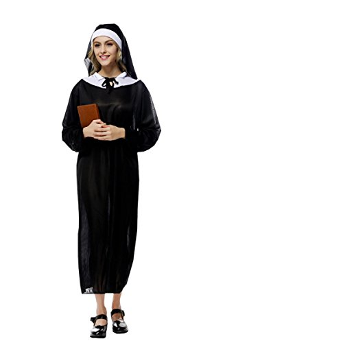 nihiug Halloween Kostüm Erwachsene Drama Jungfrau Maria Jesus Vater Pate Missionary Sexy Nonnen Kleidung Kürbis Cartoon Größe Up,Black (Halloween-kostüme Und Jesus Maria)