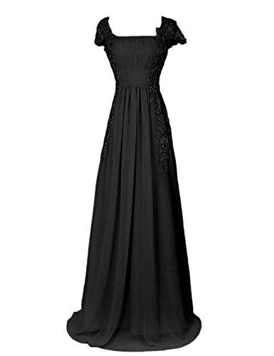 Dressystar Robe femme, Robe de soirée longue,à col carré,fleur,en Mousseline,dentelle Noir