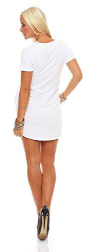 Damen Sexy Minikleid Kleid Dress Abendkleid Clubwear Cocktailkleid Gr. S M 36 38, 1544 Weiß