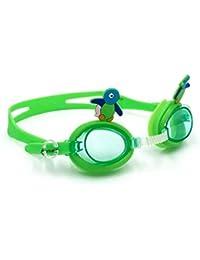 WANGJISHENG Gafas de natación para niños de Peces de Dibujos Animados, Gafas de natación para niños, Gafas de natación antiniebla para niños, pingüino Verde