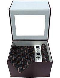 Riyasat - Brown & Black Color Geometrical Design Micro Fibre Men,s Tie, Cufflink and Pocket Square Gift Set .(R_0033)