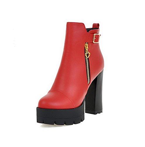 AgooLar Damen Reißverschluss PU Niedrig-Spitze Stiefel, Rot, 35