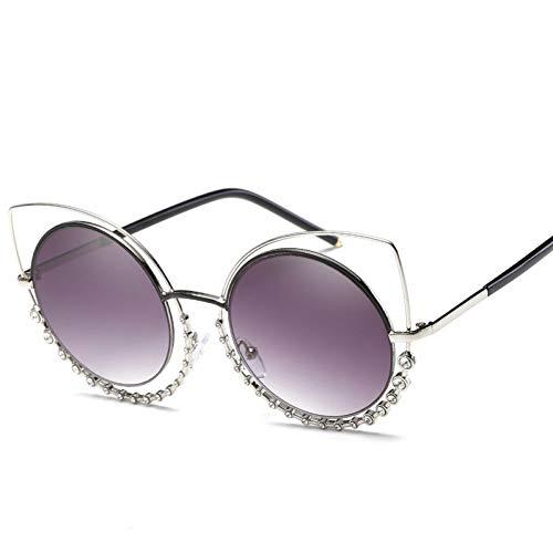 KCJKXC Metall Diamant Runde Sonnenbrille Frauen Männer Brand Design Goggle Vintage Sonnenbrille Männliche Cat Eye Sonnenbrille