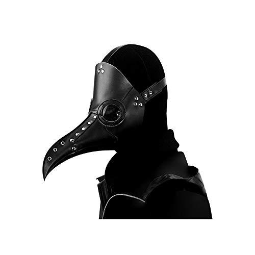 Plague Doctor Mask, Halloween Scary Maske Pest-Maske Arzt Kopfmaske Party Fasching Cosplay Venedig-Maske Karneval PU Verkleidung,Black-OneSize