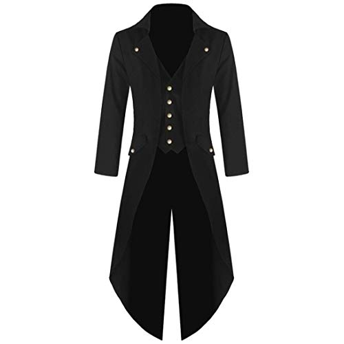 MRULIC Halloween Mäntel Herren Kapuze Jacke Gothic Gehrock Uniform Kostüm Party Oberbekleidung (EU-54/CN-4XL, Schwarz)