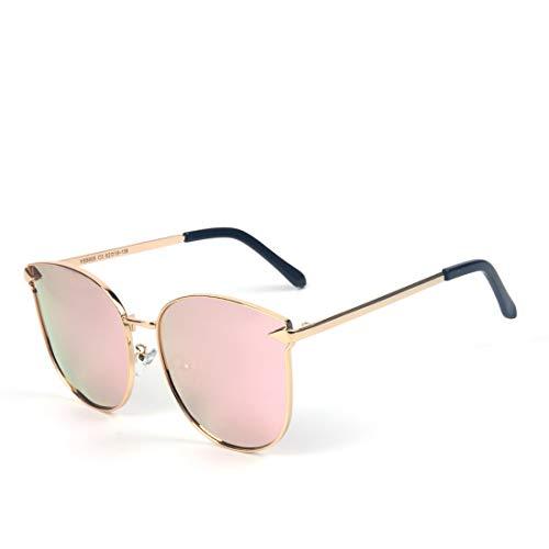 Honneury Polarisierte Sonnenbrille der Frauen runde Retro Vintage Steampunk Sonnenbrille (Farbe : Goldrahmen/Rose Gold Linse)