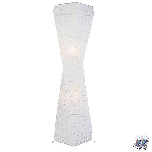 Papier Decken Fluter Wohn Zimmer Fernbedienung Steh Lampe dimmbar im Set inkl. RGB LED Leuchtmittel