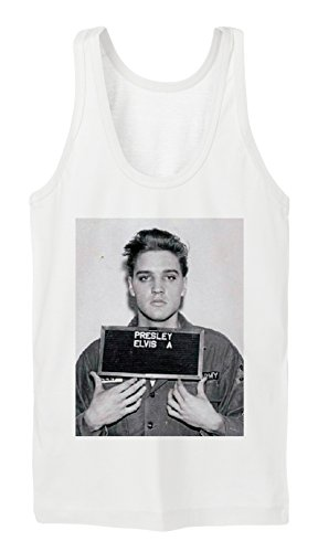 Elvis Mugshot Tanktop Girls Bianco-XL