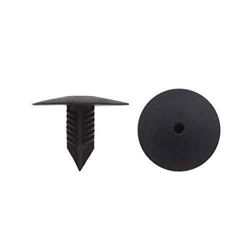 20 pcs Rivet en plastique noir 10 x 10 mm Fixation trou Diamètre pour Bouclier Auto Voiture