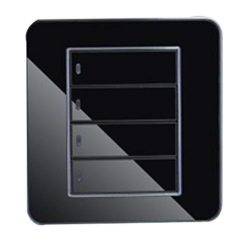Hemore Glas-Spiegelpaneel, 3-Fach, 2-Wege, gehärtetes Glas, Touch-Schalter mit LED-Steckdose, Wandsteckdose, Schwarz -
