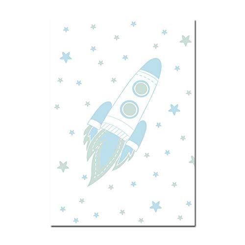 Bilder Auf Leinwand,Outer Space Rocket, Sterne, Kinderzimmer Dekor Leinwand Gemälde Kunstdruck Poster Bild Wand Schlafzimmer Wohnzimmer Dekoration Malerei Wandbild, 60 × 80 cm (Space Dekor Outer)