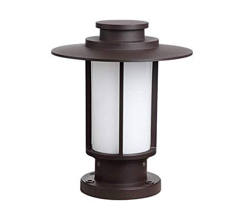 Chandelierpedestal Lampe E27 Brown Cast Aluminium und Acryl Spalte Licht Tür Villa Hotel Rasen Landschaft Hof Garten Balkon Terrasse Boden Poller Stand Laterne 30 * 24 Cm -