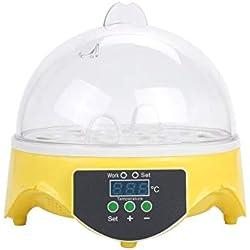 Bigherdez Capacidad de 7 Huevos Huevos de gallina Incubadora de Aves Bandeja de Huevos Bandeja de Control Inteligente automática Herramienta de incubación de codorniz Loro Enchufe de la UE - Amarillo