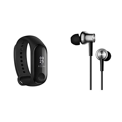 Mi Band 3 (Black) & Earphones with Mic (Silver)