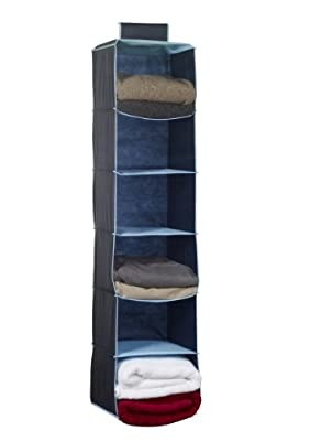 H & L Russel WS7102 Six Pocket Wardrobe Organiser with Trim, Marine Blue - inexpensive UK light store.