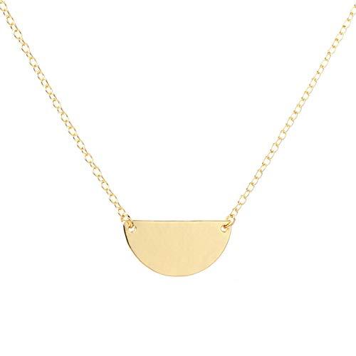 JMZDAW Halskette Anhänger Einfache Halbkreis Geometrie Halskette Schmuck Die Hälfte Der Kreis Geometrische Halskette Für Frauen Alltag