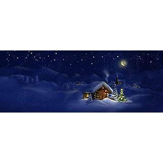 adrium Leinwand-Bild 80 x 30 cm: Hut, Christmas Tree with Lights, Panorama Landscape, Bild auf Leinwand