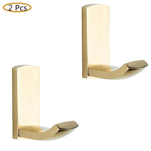 CASEWIND 2 Stück Poliert Gold Kleiderhaken Mantelhaken Handtuchhaken aus Messing zum Bohren Badezimmer Accessoires Luxus Stil