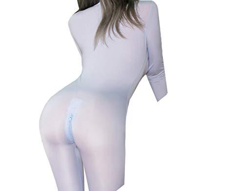 HNJZX Frauen Sexy Bodysuit, Damen Zipper Jumpsuit Langarm Geöffneter Gabelung Dessous Overalls -