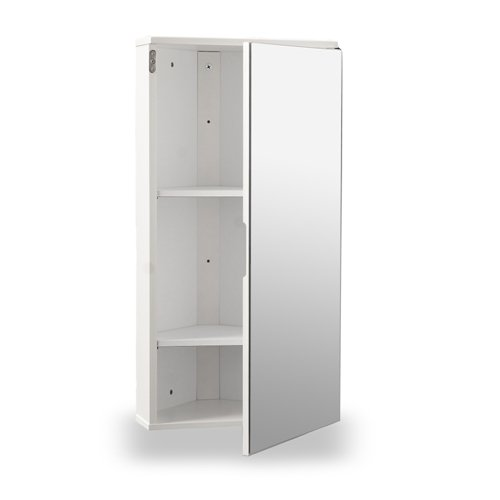 white gloss wall hung corner bathroom cabinet with single mirrored