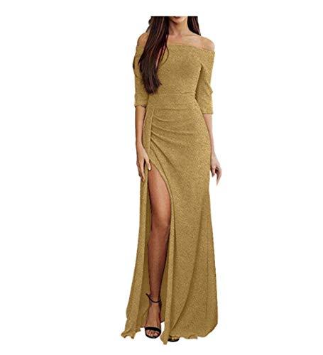 KPILP Frauen Schulterfrei Kleider Formelle Kleidung Elegant Solide High Split Maxi Lange Abendkleider Rockabilly Kleid(Gold,EU-36/CN-S)