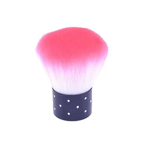 niceeshop(TM) Brosse à Ongles pour Dépoussiérer, Mini Brosse de Nail Art en Nylon avec Strass(Blanche et Rose Pâle)