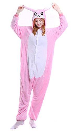 Unisex Erwachsene Pyjama Jumpsuit Hase Kostüm Onesie Schlafanzug Hausanzug Overall Rosa Größe L