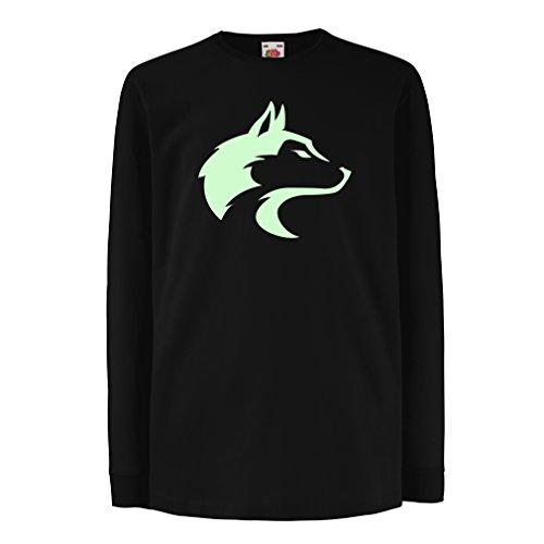 Kinder-T-Shirt mit Langen Ärmeln der Ruf des Wilden Wolfes - Coole Grafik mit geistigem Gefühl (7-8 Years Schwarz Fluoreszierend)