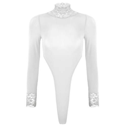 iEFiEL Damen Langarm Bodysuit Rollkragen Bodys mit Spitze Tops Overalls Jumpsuit Lingerie Dessous Body Unterwäsche Nachtwäsche Overalls Weiß One Size