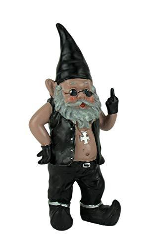 gnoschitt die Naughty Biker Gnome Statue Motorrad Leder 33cm
