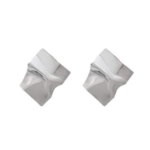 (ICHQ Ohrringe, 1 Paar übertrieben Kreative Persönlichkeit Ohrringe Geometrische Unregelmäßige Spiegel Große Ohrringen Temperament Ohrringe Geschenk Ohrstecker (Silber))