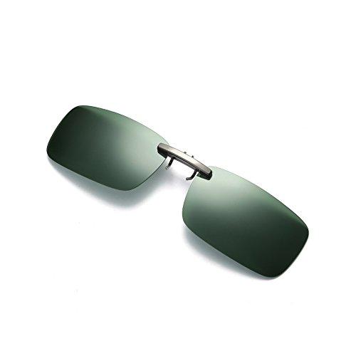 Caiyuangg®1×Unisex Polarisierte Sonnenbrillen-Clip,UV400 Sonnenbrille Brillen Clip On's Brille Sonnenbrillen für Brillenträger (Dunkelgrün)