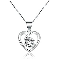 Byond Beautiful Contemporary Heart Necklace with Single Crystal American Diamond Pendant for Women and Girls