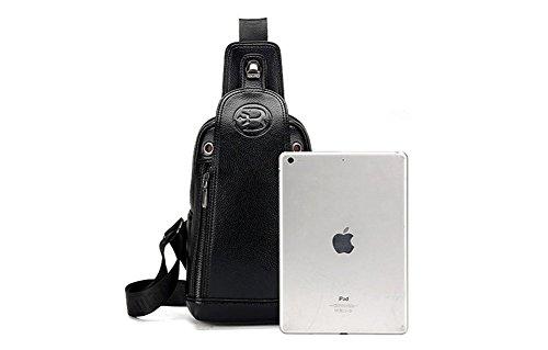 YAGGLE 2-teilig Leder Tasche Outdoor Military Messenger Schultertasche mit Geldbörse Reisezubehör Body Bag Sack schwarz