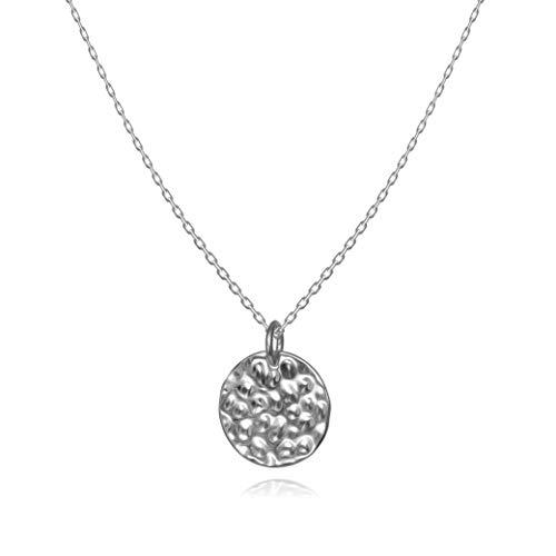 Kreis Plättchen Coin Halskette für Damen in 925 Sterling Silber mit Platin überzogen, Silberkette für Frauen Modell Mond, Kette mit Anhänger rund & gehämmert, Kettchen 40+5cm