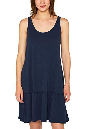 Strukturierte Baumwolle Kleid (ESPRIT Slub-Jersey-Kleid mit Volant-Saum)