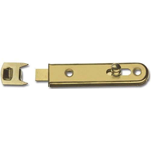 SECOTEC Möbelriegel gerade mit Knopfschieber / 16x70 mm / inkl. Schließblech / Stahl vermessingt / 2 Stück
