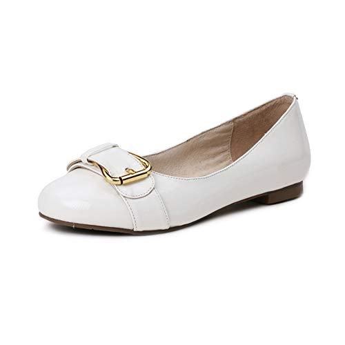 LYY.YY Mujeres Cabeza Redonda Zapatos Planos Moda Hebilla De Metal Talón Plano Zapatos De La Madre Uso Diario Zapatos Casuales