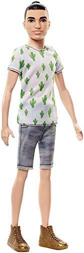 Barbie FJF74 Ken Fashionistas Puppe im Kaktus-Look und Manbun -