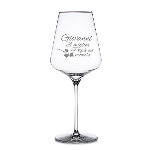 AMAVEL – Calice da Vino Rosso – Bicchiere da Vino in Vetro con Incisione – Il Miglior papà del Mondo – Personalizzabile con [Nome] – Idee Regalo per Lui – Festa del papà – Regali di Compleanno - 2