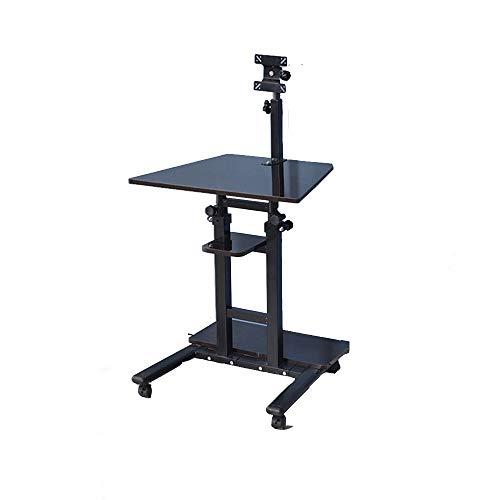 Computertische XIA Mobiler Stand-Up-Schreibtisch Höhenverstellbar Roll-Stehplatz-Workstation-Monitor für Schreibtischmontage Laptop- und Tastaturmontage Weißes Ahorn Eiche Farbe Schwarz Nussbaum - Ahorn Roll