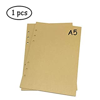Lvcky A5 6-Ring Binder Planner Refill Paper File Paper Loose-Leaf Notebooks Paper (1 PCS 45 sheets/90pages) Standard Brown Blank Page Style Pirate Cowboy Style