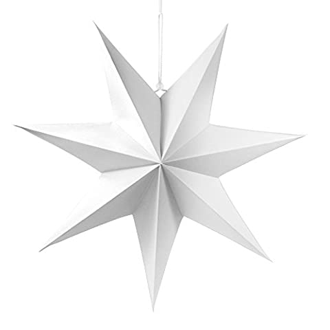 2 Frau Wundervoll Faltsterne matt weiß, 40 cm, 7 Zacken Weihnachtsstern Papiersterne
