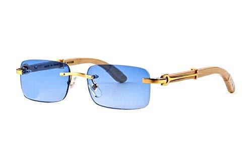 LKVNHP New Hochwertige Holz Sonnenbrille Männer Marke Holz Sonnenbrille Für Mann Randlose Mode Sonnenbrille Berühmten Namen Anti ReflektierendeGelb Blau